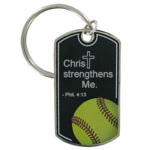 Softball Key Chain/Christ Strengthens Me