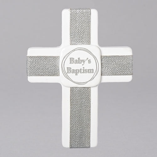 Baby's Baptism White/Gray Wall Cross