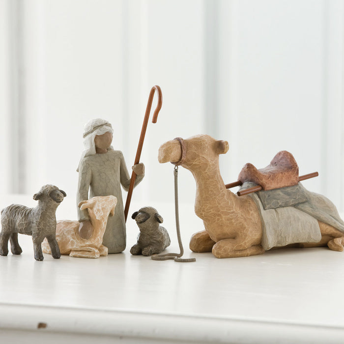 Shepherd with Stable Animals Willow Tree