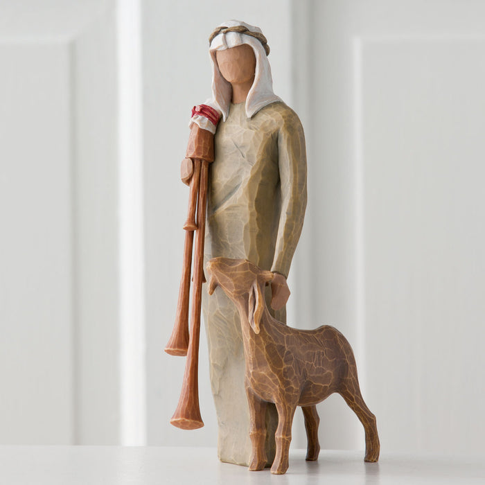 Zampognaro Shepherd with bagpipe Willow Tree