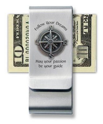 Follow Your Dreams Money Clip w/ Compass Design
