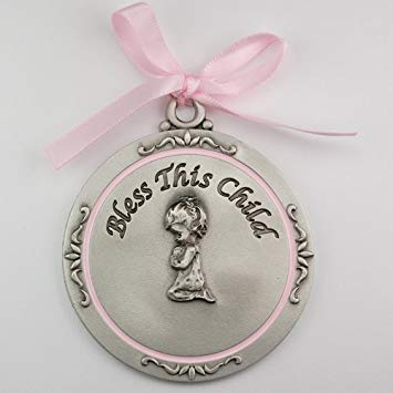 Pink Crib Medal - Bless This Child