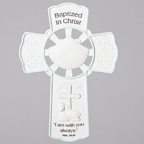 Baptized in Christ Blue/White Cross
