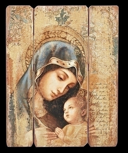 Madonna w/Child Wood Plaque 26""
