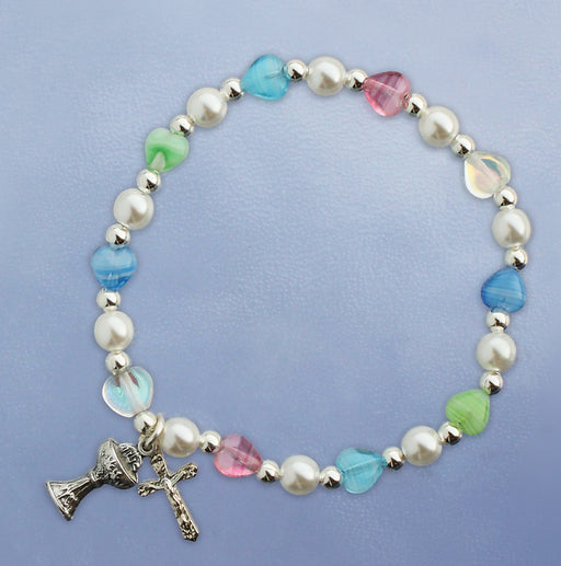 First Communion Multi-Colored Hearts Stretch Bracelet