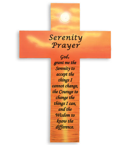 Serenity Prayer Wall Cross w/ Sunset Design