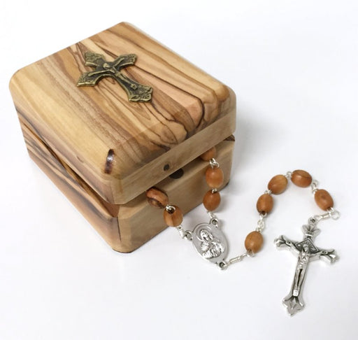 Olive Wood Rosary and Keepsake Box Set (Crucifix)