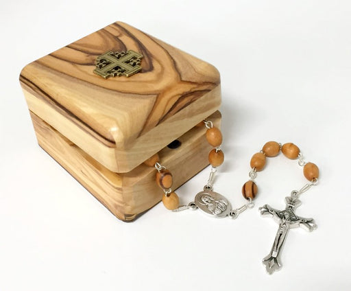 Olive Wood Rosary and Keepsake Box Set (Jerusalem Cross)