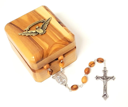 Olive Wood Rosary and Keepsake Box Set (Confirmation)