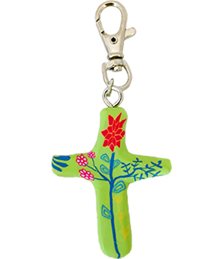 Multiple Blessings Comforting Clay Cross Green Keychain