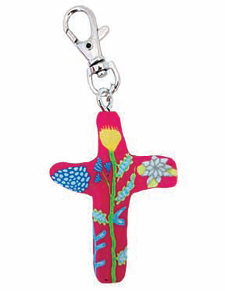 Multiple Blessings Comforting Clay Cross Pink Keychain