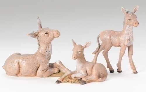 "Donkey Family 3-pc set 5"" Fontanini"