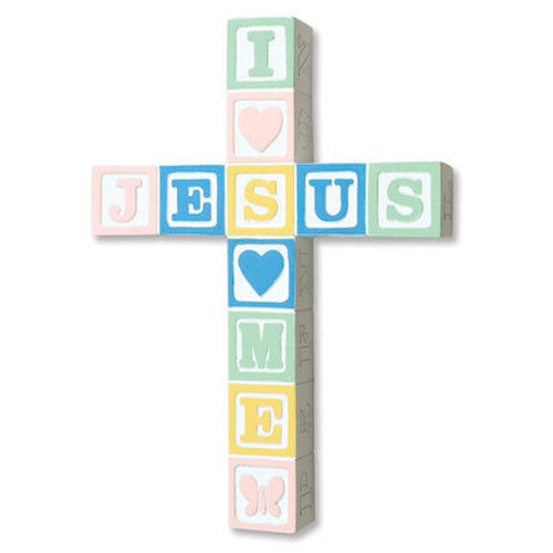 I Love Jesus ABC Block Wall Cross - Pastel