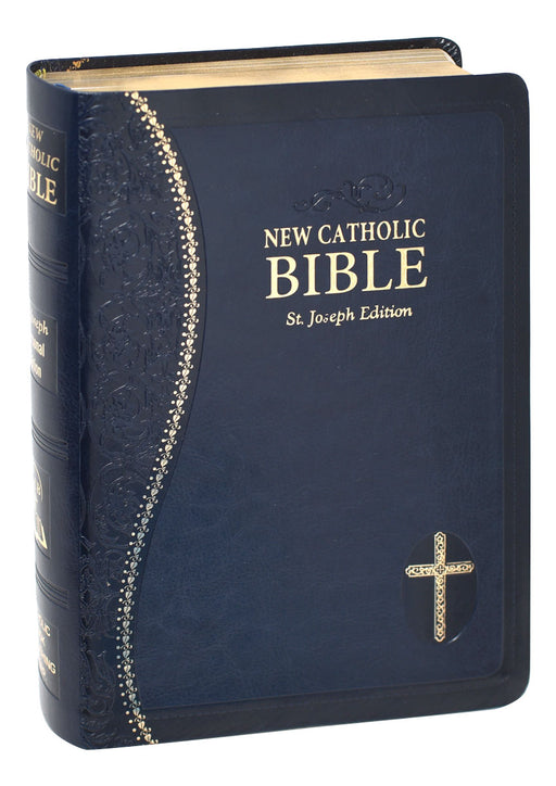 Blue Leather St. Joseph New Catholic Bible - Personal Size