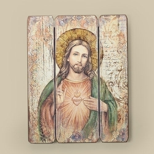Sacred Heart of Jesus Wood plaque 15""