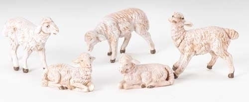 "White Sheep 5-pc set 5"" Fontanini"