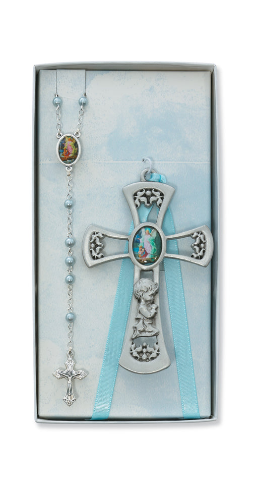 Baby Cross & Rosary Set/Blue