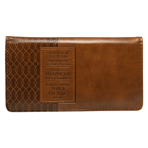 For I Know the Plans Brown Leather Checkbook Cover