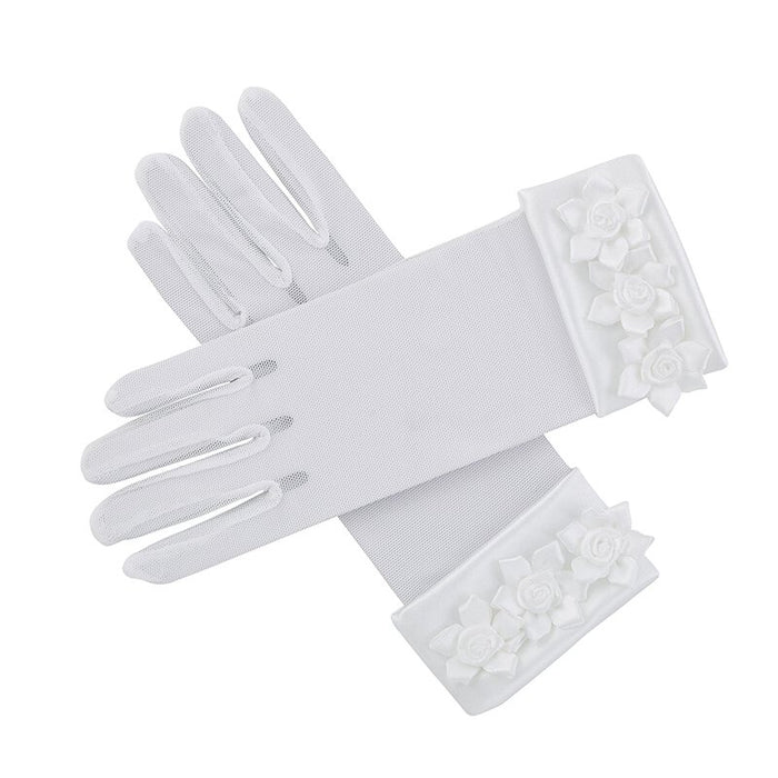 First Communion Gloves W/ Rosebuds