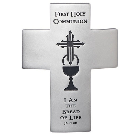 First Holy Communion Bread of Life Silver Tone Wall Cross