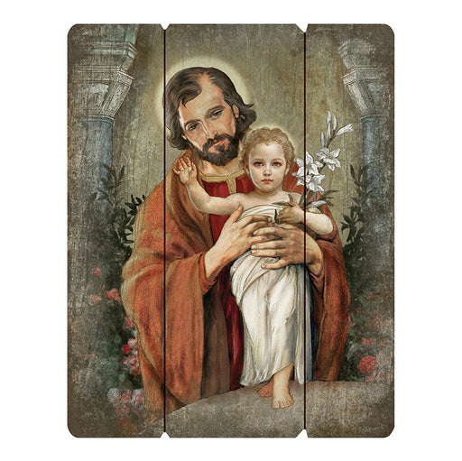 "St. Joseph Wood Panel Plaque 12""x15"""