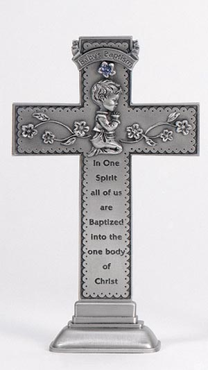 Baby Boy Standing Cross w/blue stone 5""