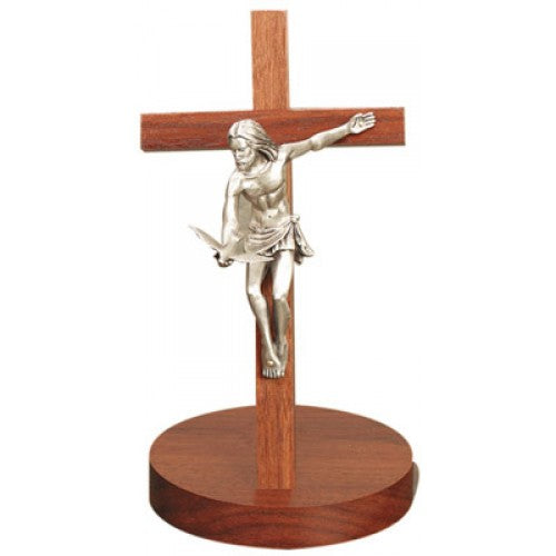 """Gift of the Spirit"" Walnut Crucifix with Base 8"""