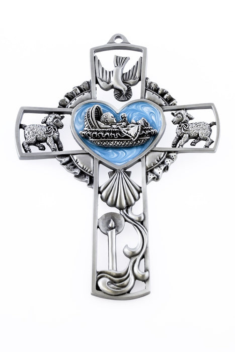 "Baby wall cross blue 5"" pewter"
