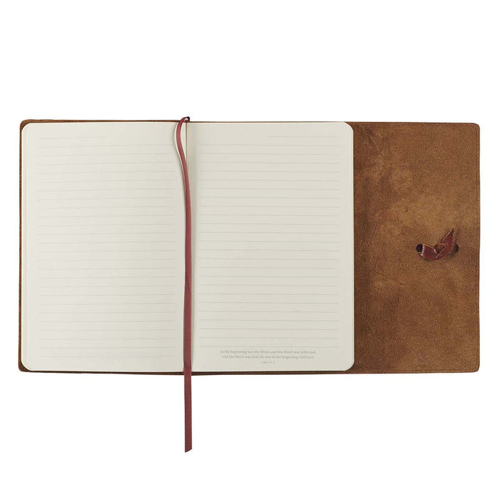 Faith Brown Full Grain Leather Journal with Wrap Closure