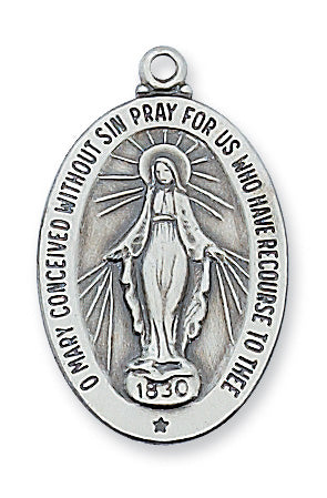 Sterling Silver Oval Miraculous Medal