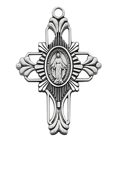 Sterling Silver Cross w/Miraculous Medal Center