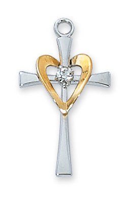 Sterling Silver Cross w/Gold Heart