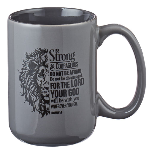 Be Strong Lion Gray Coffee Mug