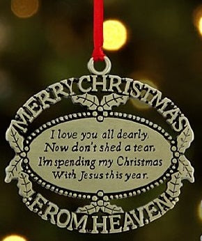 Merry Christmas from Heaven Ornament - Gold