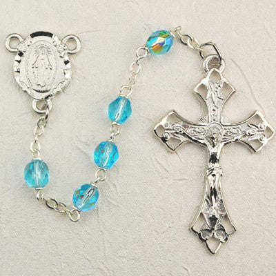 Aqua - 6mm Glass Bead Rosary