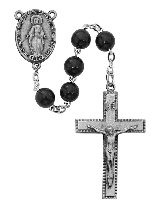 ROSARY 7MM BLACK WOOD BEADS W/ STERLING CRUCIFIX AND CENTER