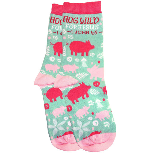 Bless My Sole Crew Socks - Hog Wild for Jesus