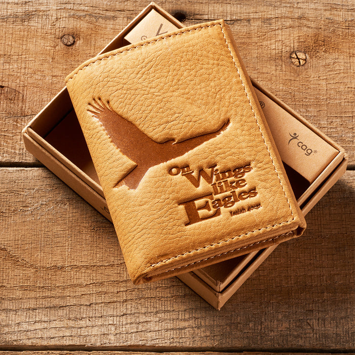Wings Like Eagles Wallet ID window/6 cc slots/ 2 slip pockets/Tri Fold