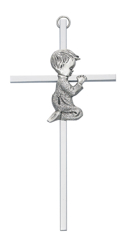 Praying Boy Silver Cross 6""
