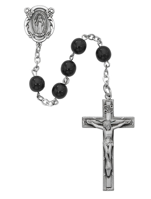 Black Glass Bead 7mm Rosary