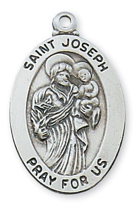 "St. Joseph Sterling Silver Medal w/ 20"" Chain"