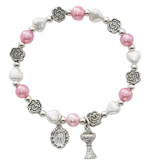 First Communion White & Pink Pearl Bracelet w/ Miraculous Medal