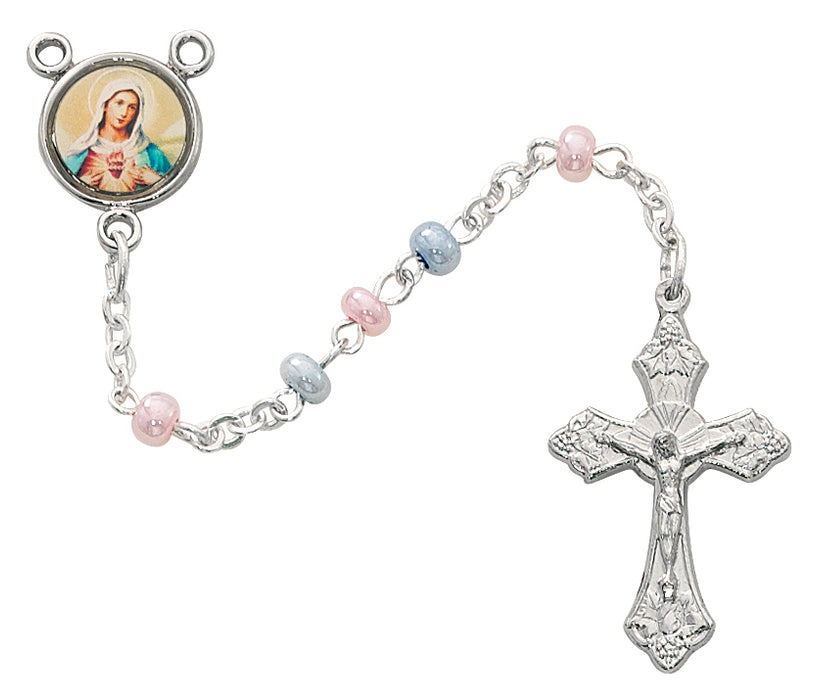 3mm Pink & Blue Baby Rosary