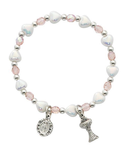 First Communion Pink & White Heart Bracelet w/ Miraculous Medal