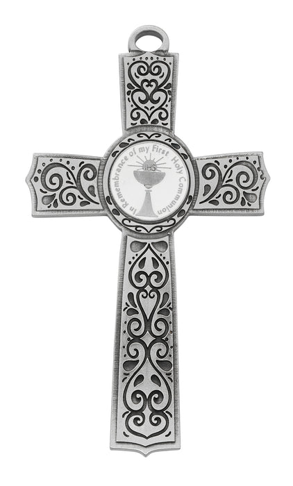 Pewter First Communion Cross with White Enamel Center 6""