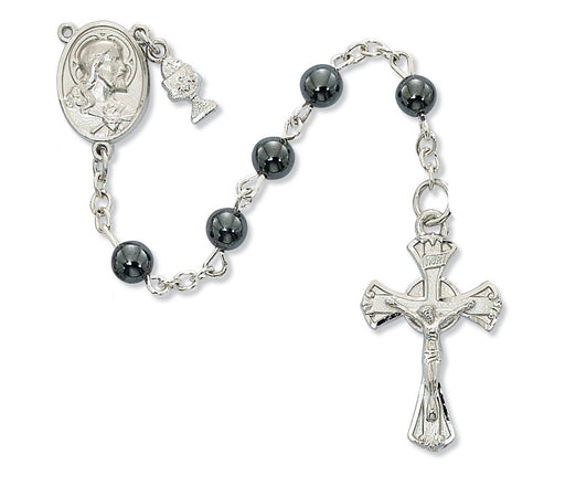 Hematite First Communion Rosary 6mm