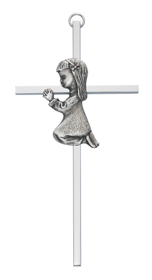 Praying Girl Silver Cross 6""