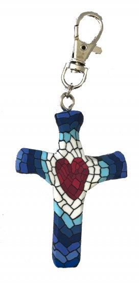 Mosaic Heart Comforting Clay Cross Keychain