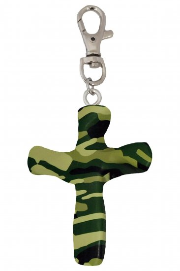 Camouflage Comforting Clay Cross Keychain