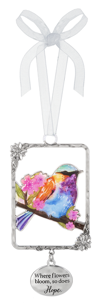 Silver/Enamel Bird Ornament - Where Flowers Bloom, So Does Hope
